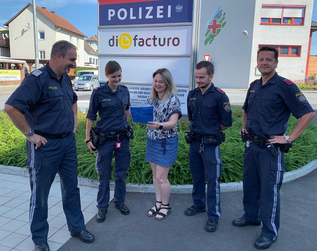 Sabine Weber bei der Polizei Gleisdorf